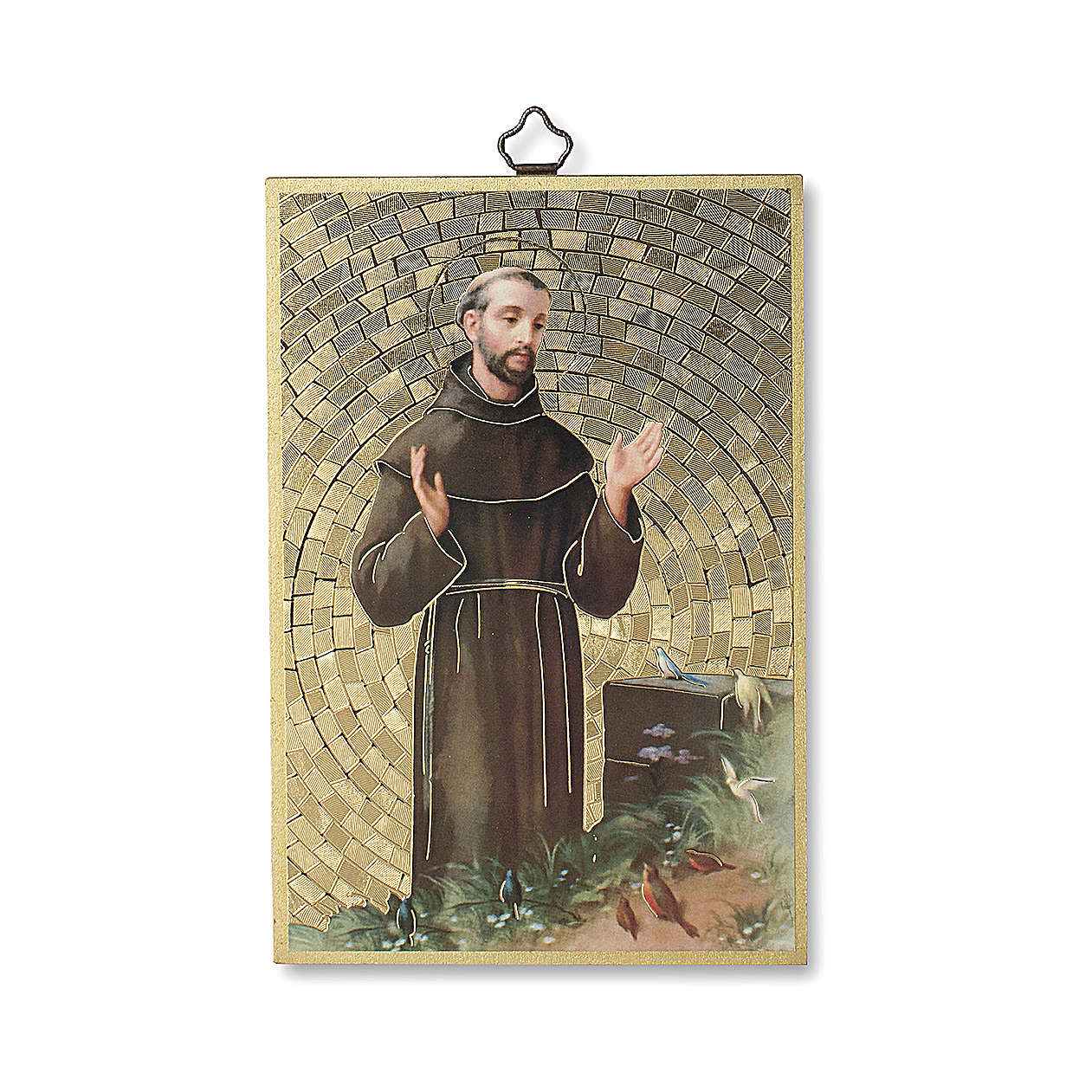 Saint Francis of Assisi woodcut with Simple Prayer ITALIAN 3