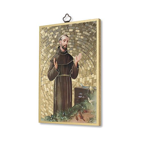 Saint Francis of Assisi woodcut with Simple Prayer ITALIAN 2