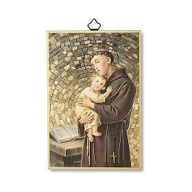 Impreso sobre madera San Antonio de Padua Oración ITA