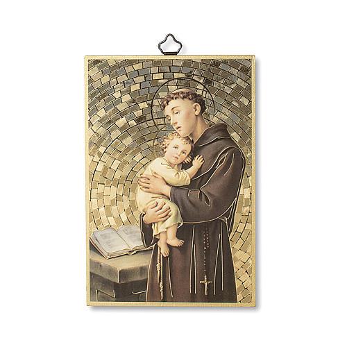 Impreso sobre madera San Antonio de Padua Oración ITA 1