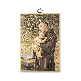 Impressão na madeira Santo António de Lisboa Oração ITA s1