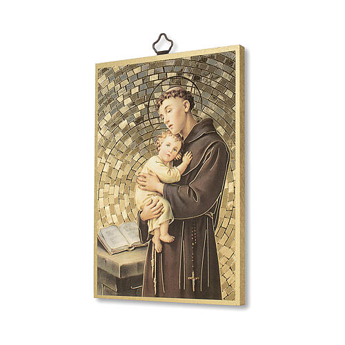 Impressão na madeira Santo António de Lisboa Oração ITA 2