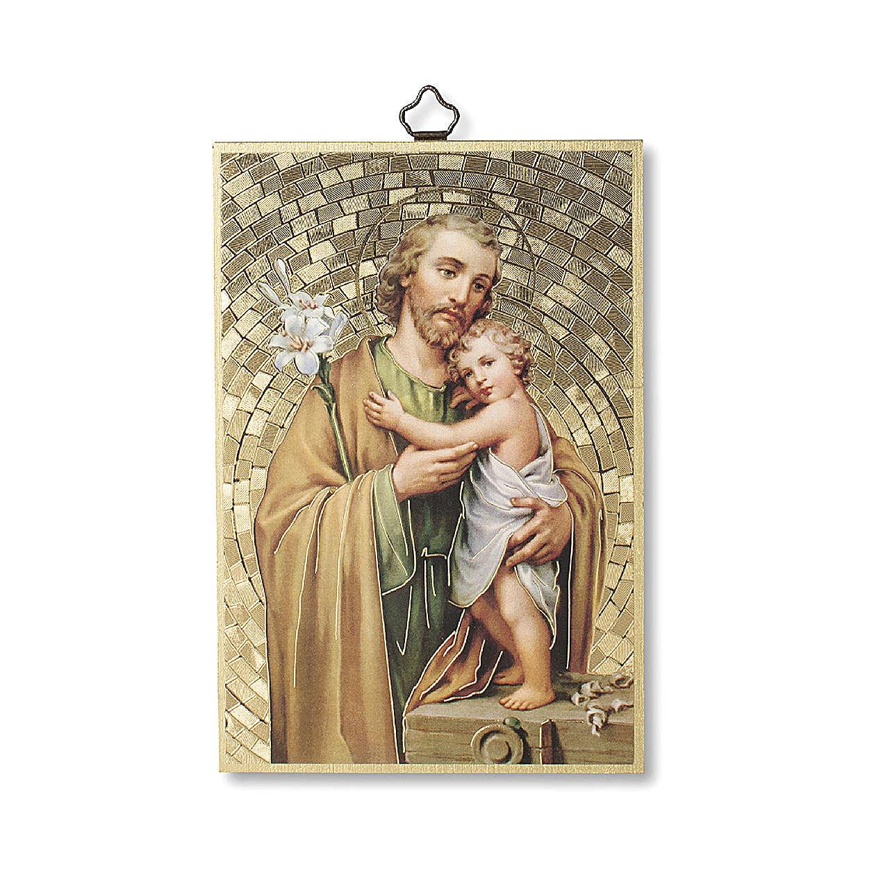 Bedruckte Holzplatte Heiliger Joseph und Gebet auf der Rückseite 3