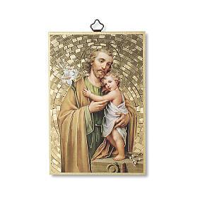 Bedruckte Holzplatte Heiliger Joseph und Gebet auf der Rückseite s1