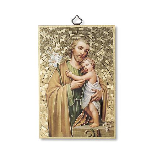 Bedruckte Holzplatte Heiliger Joseph und Gebet auf der Rückseite 1