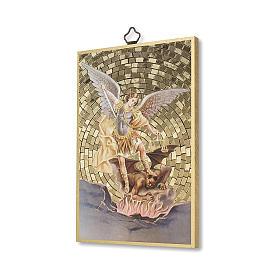 Impreso sobre madera San Miguel Arcángel Oración contra el Maléfico ITA s2