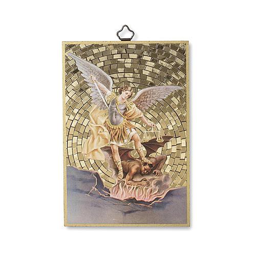 Impreso sobre madera San Miguel Arcángel Oración contra el Maléfico ITA 1