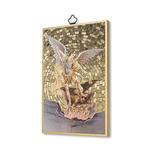 Impreso sobre madera San Miguel Arcángel Oración contra el Maléfico ITA 2