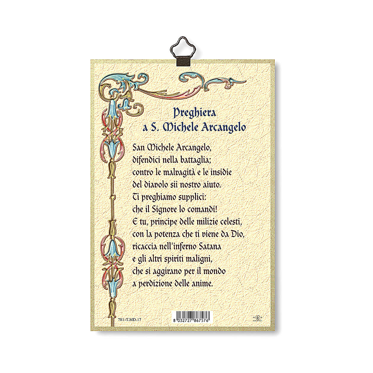 Druk na drewnie Święty Michał Archanioł modlitwą przeciwko demonom ITA 3