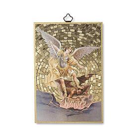 Impressão na madeira São Miguel Arcanjo Oração contra o Maléfico ITA