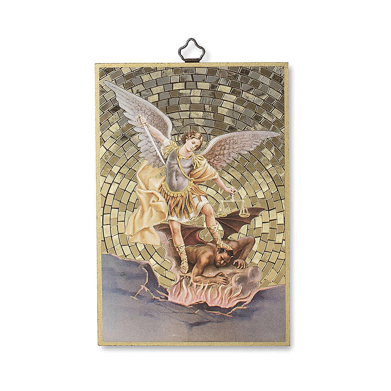 Saint Archangel Micheal woodcut with Prayer against evil ITALIAN 3