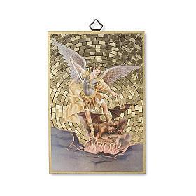 Saint Archangel Micheal woodcut with Prayer against evil ITALIAN s1