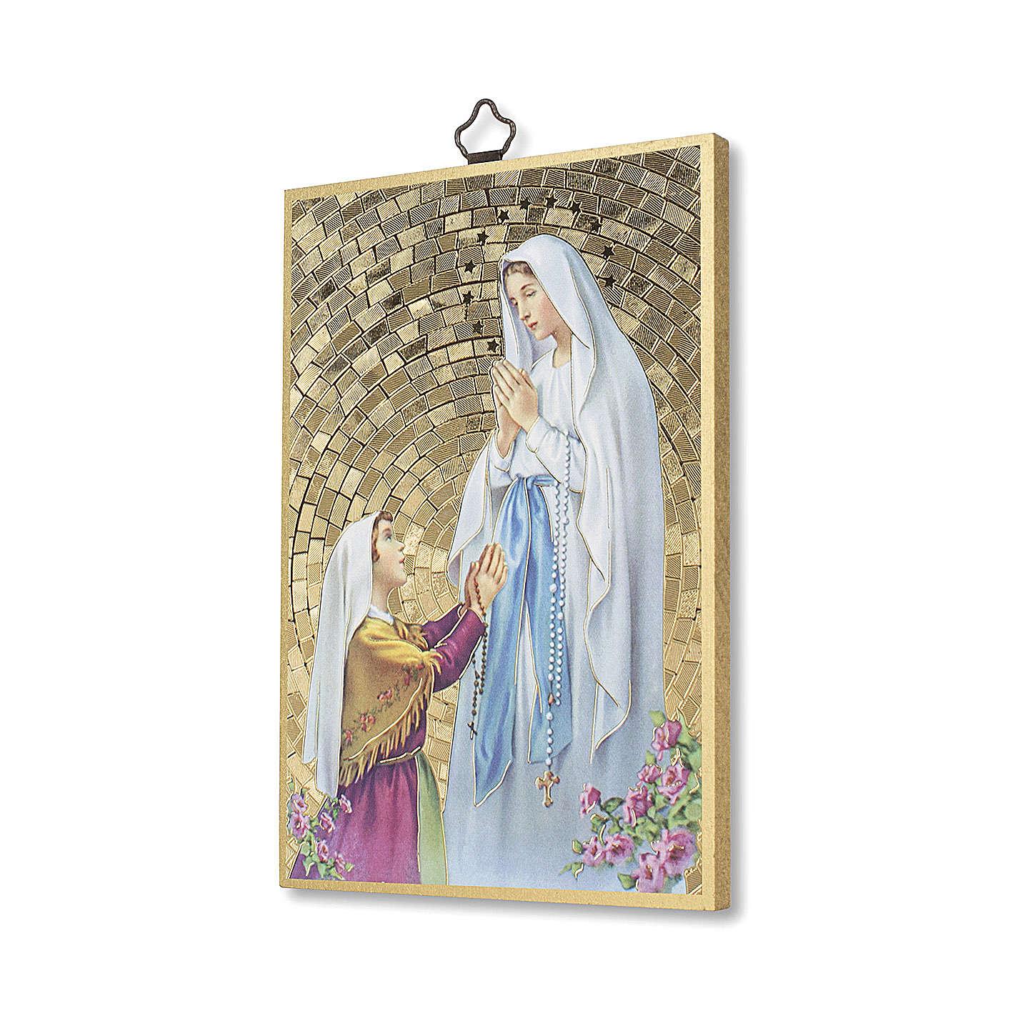 Impression sur bois Apparition de Lourdes avec Bernadette Neuvaine Lourdes ITA 3