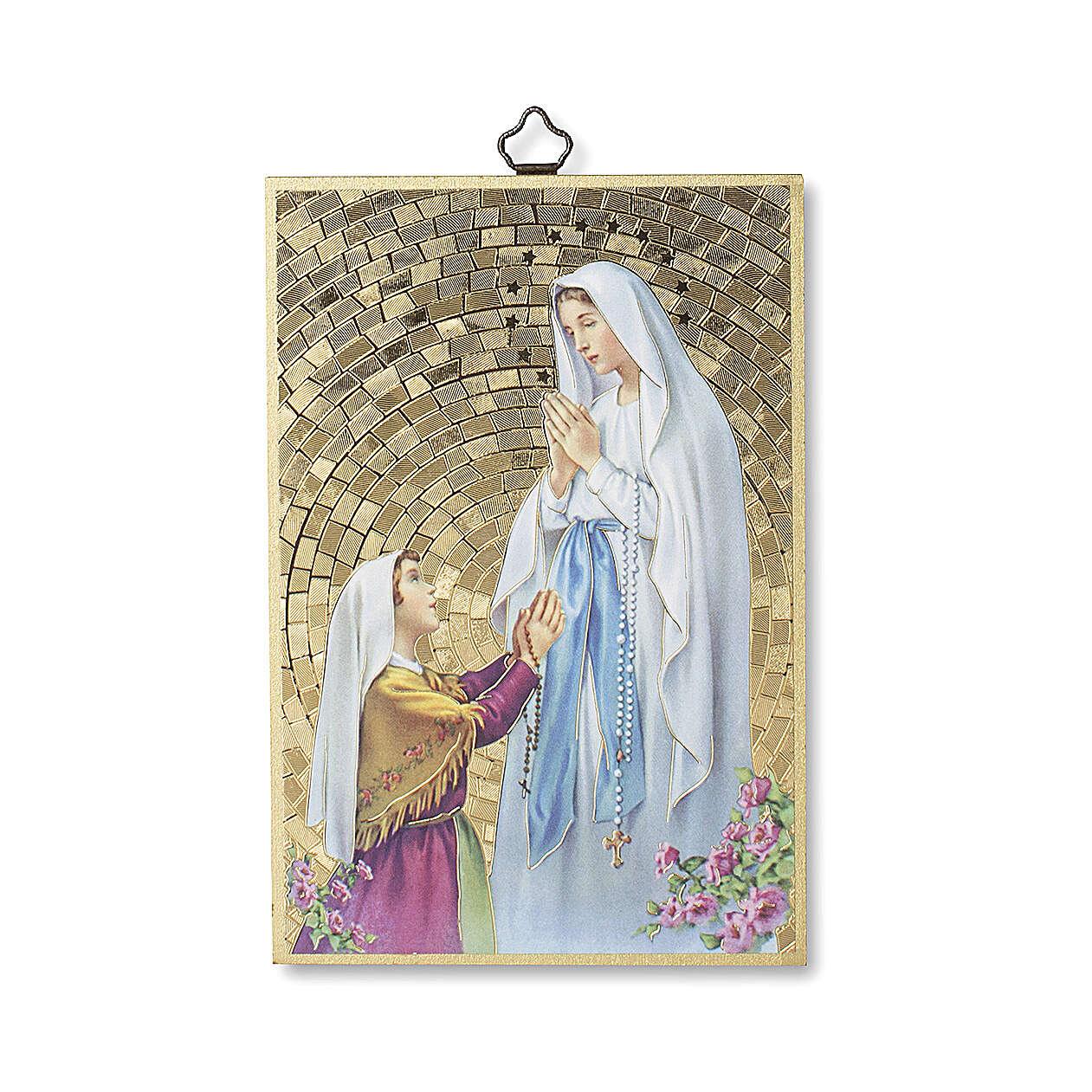 Impressão na madeira Aparição de Lourdes com Bernadette Novena de Lourdes ITA 3