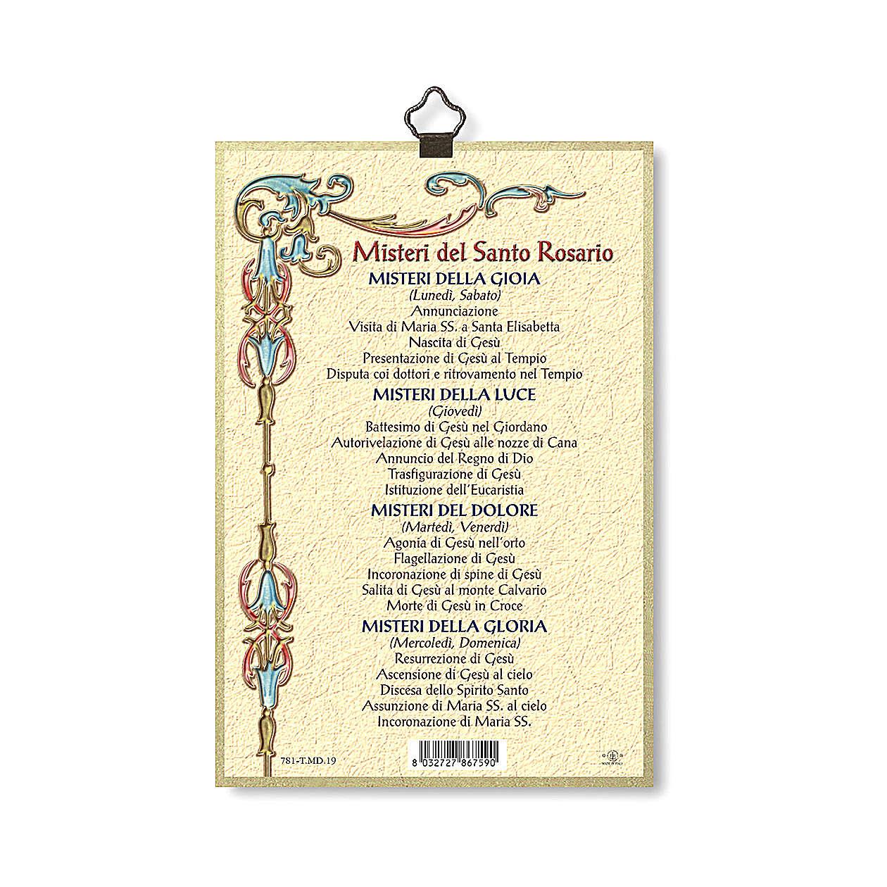 Impression sur bois Mystères du Saint Rosaire Les Mystères du Rosaire ITA 3