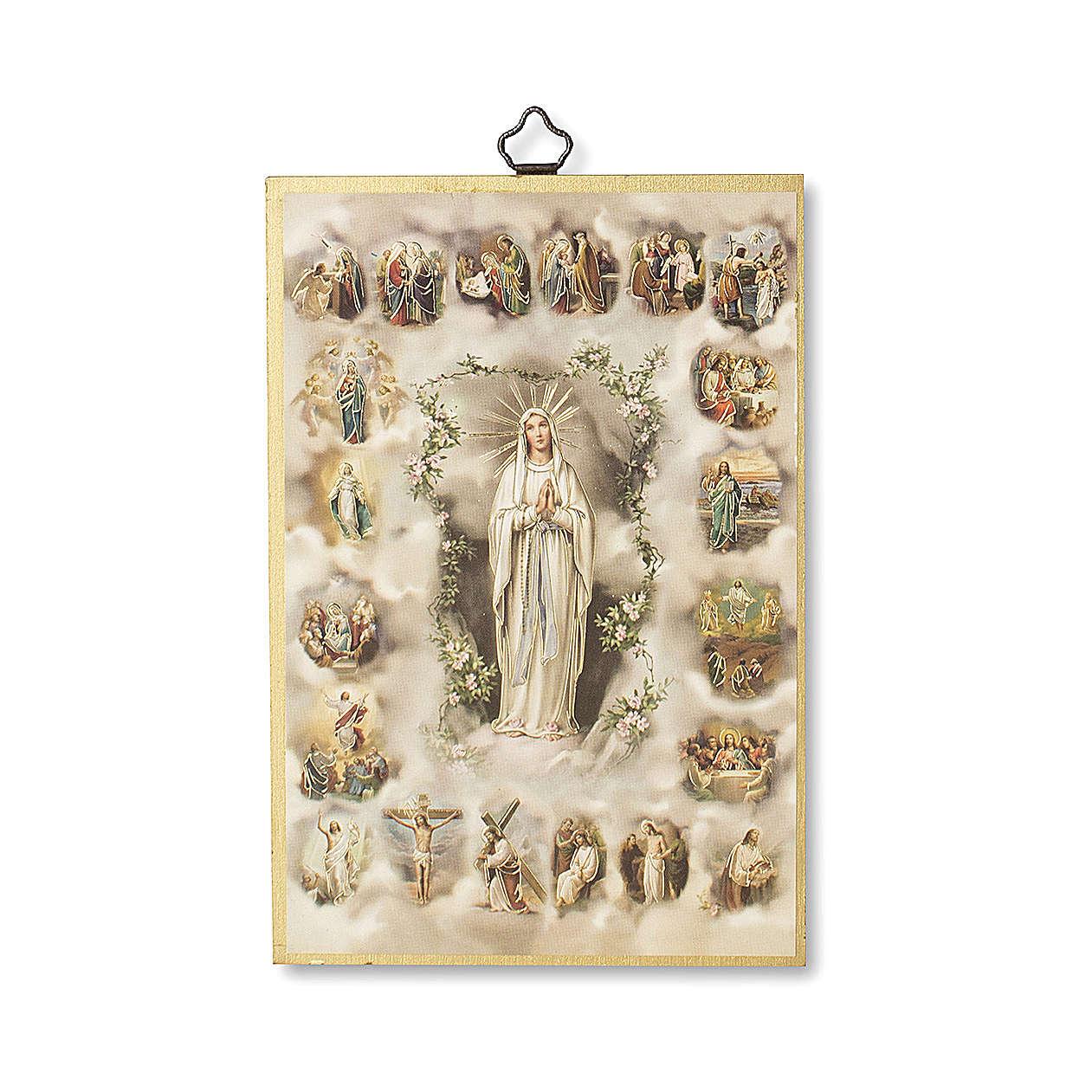 Druk na drewnie Tajemnice Różańca Świętego modlitwa ITA 3