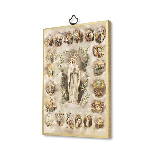 Druk na drewnie Tajemnice Różańca Świętego modlitwa ITA 2