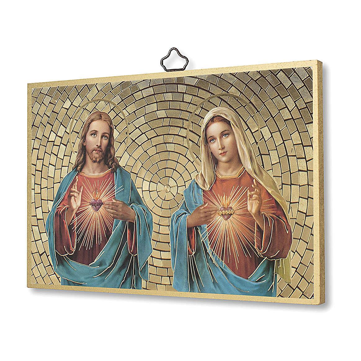 Impreso sobre madera Sagrado Corazón de Jesús y María Oración Bendición Casa ITA 3