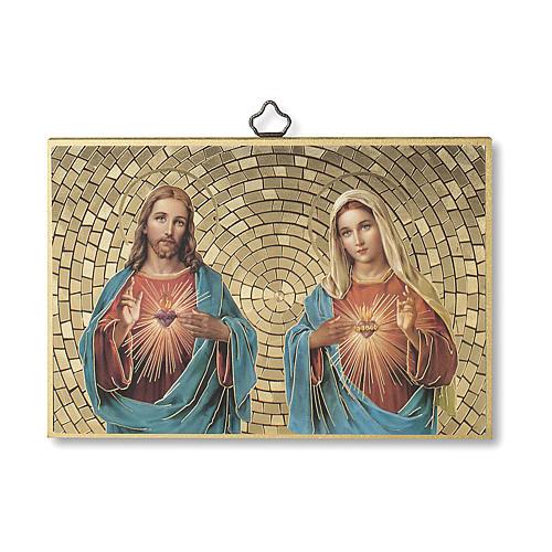 Impreso sobre madera Sagrado Corazón de Jesús y María Oración Bendición Casa ITA 1