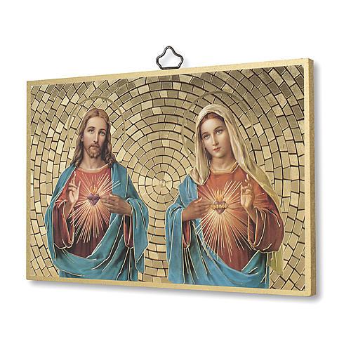 Impreso sobre madera Sagrado Corazón de Jesús y María Oración Bendición Casa ITA 2