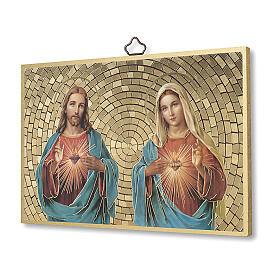 Impressão na madeira Sagrado Coração de Jesus e Maria Benção da casa ITA s2