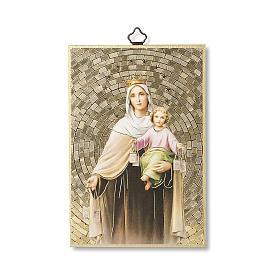 Impression sur bois Notre-Dame Mont-Carmel Prière Notre-Dame du Mont-Carmel ITA s1