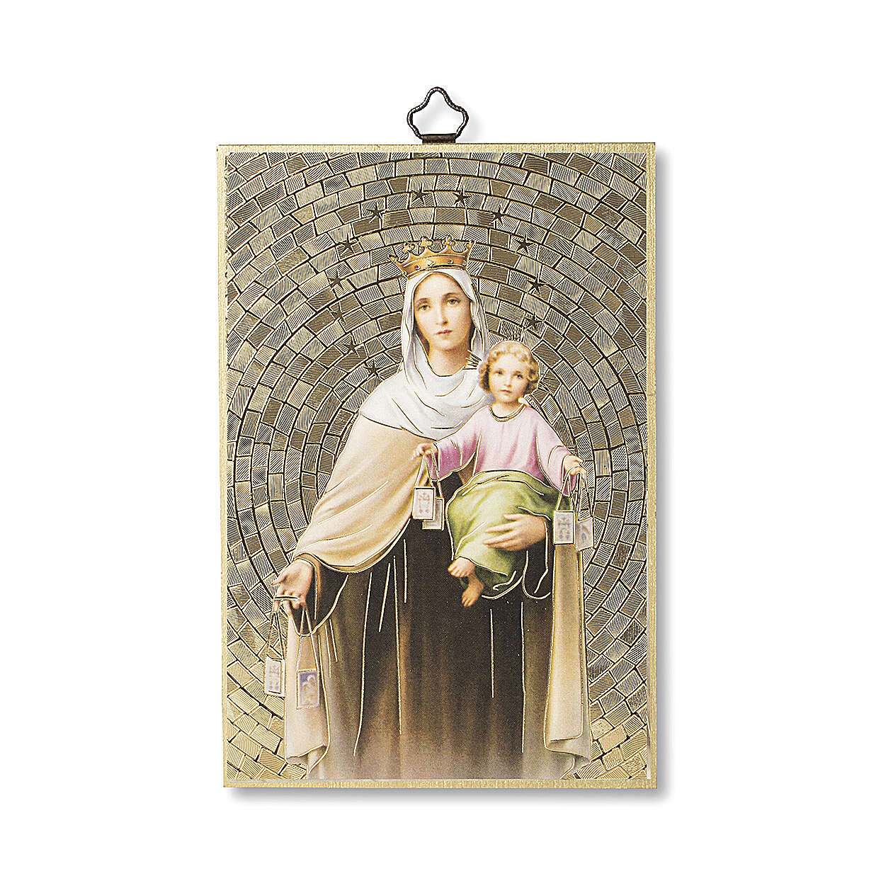Impressão na madeira Nossa Senhora do Carmo Oração ITA 3