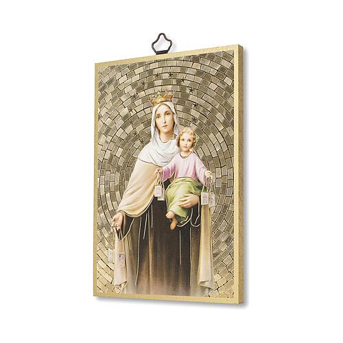 Impressão na madeira Nossa Senhora do Carmo Oração ITA 2
