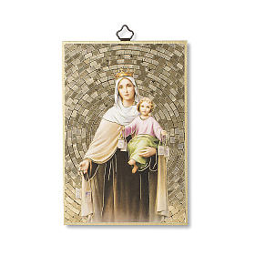 Our Lady of Mount Carmel woodcut with Prayer to Our Lady of Mount Carmel ITALIAN s1