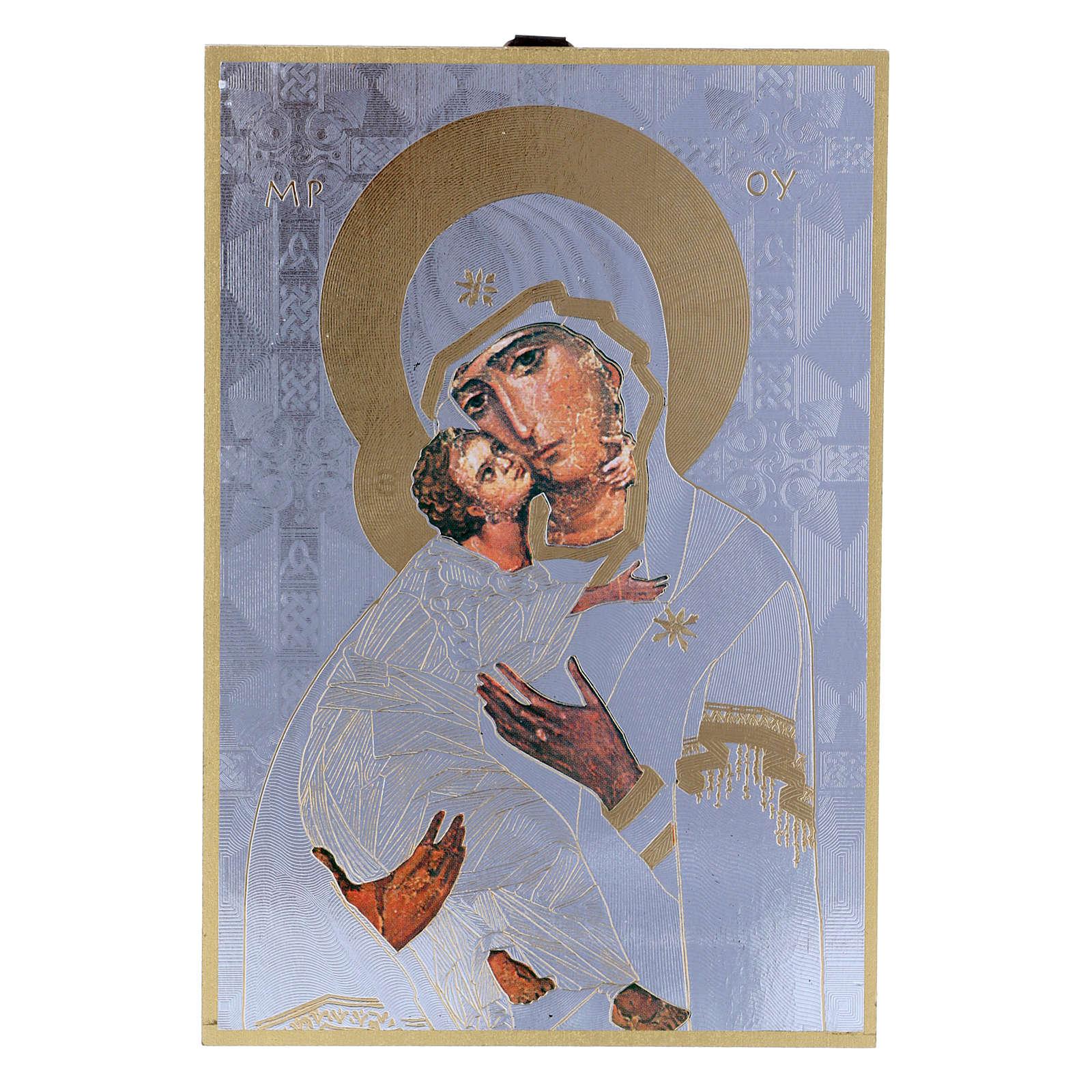 Impreso sobre madera Icono Virgen de la Ternura Oración de la Sonrisa ITA 3