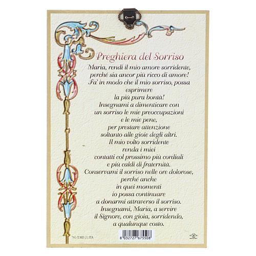 Impreso sobre madera Icono Virgen de la Ternura Oración de la Sonrisa ITA 2