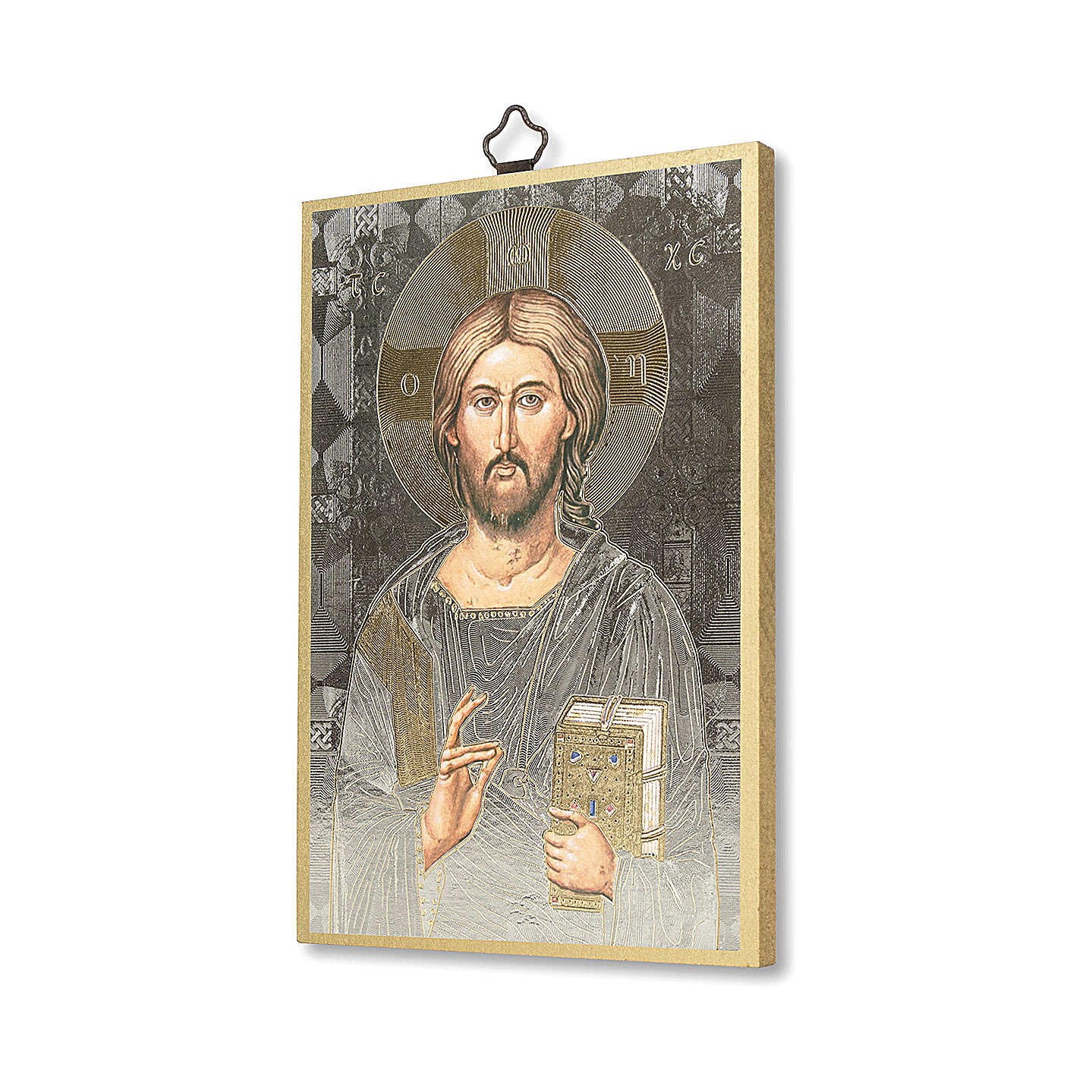 Christ Pantocrator woodcut with prayer to Jesus our Divine Master ITALIAN 3