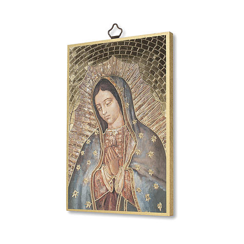 Our Lady of Guadalupe woodcut with Prayer ITALIAN 2