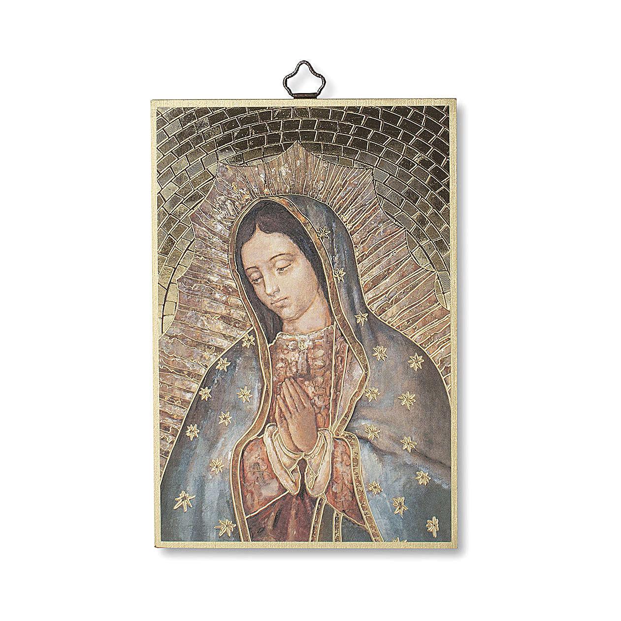 Impreso sobre madera Virgen de Guadalupe Oración ITA 3