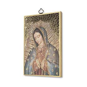 Impreso sobre madera Virgen de Guadalupe Oración ITA s2
