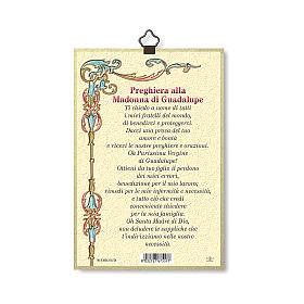 Impreso sobre madera Virgen de Guadalupe Oración ITA s3