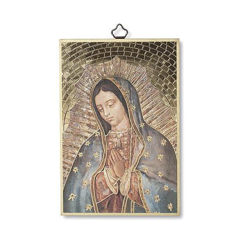 Impreso sobre madera Virgen de Guadalupe Oración ITA 1