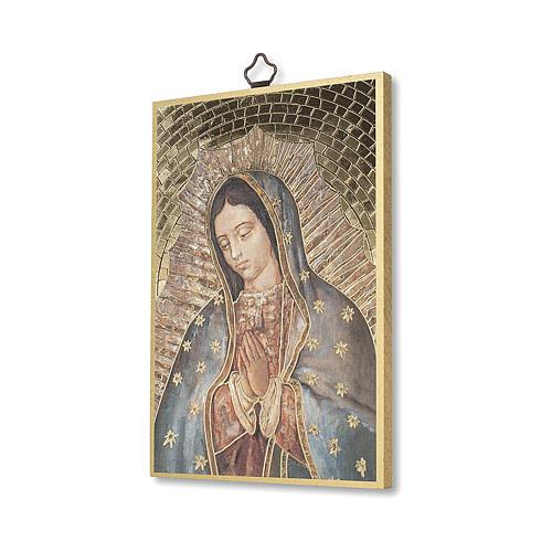 Impreso sobre madera Virgen de Guadalupe Oración ITA 2