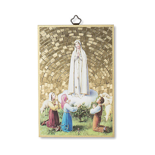 The Apparition of Fatima to the Three Shepherds woodcut with prayer of the Angel ITALIAN 1