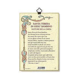 Impreso sobre madera Santa Teresa de Lisieux Oración a Santa Teresa ITA s3