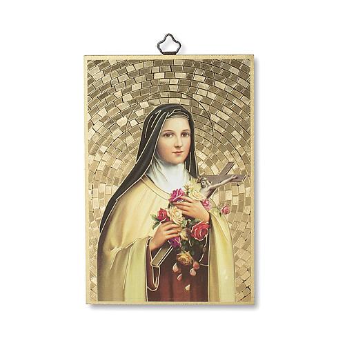 Impreso sobre madera Santa Teresa de Lisieux Oración a Santa Teresa ITA 1