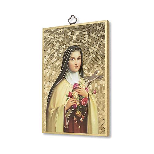 Impreso sobre madera Santa Teresa de Lisieux Oración a Santa Teresa ITA 2