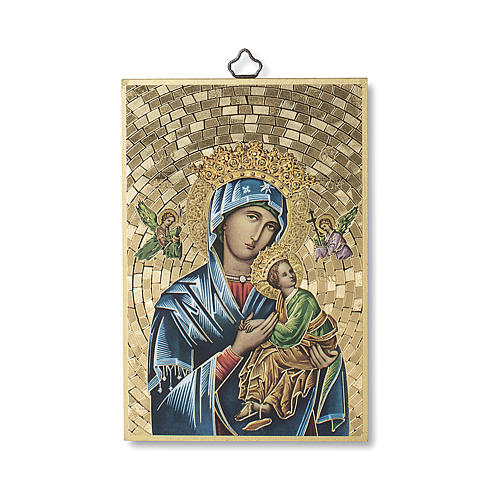 Stampa su legno Madonna del Perpetuo Soccorso Preghiera ITA 1