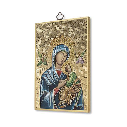 Stampa su legno Madonna del Perpetuo Soccorso Preghiera ITA 2