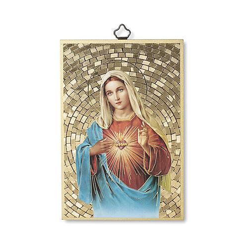 Impreso sobre madera Corazón Inmaculado de María Salve Regina ITA 1