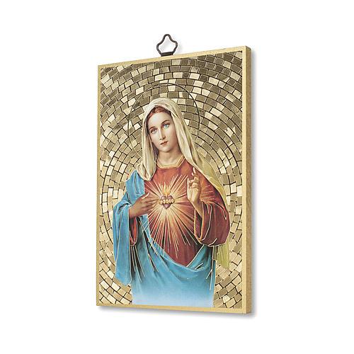 Impreso sobre madera Corazón Inmaculado de María Salve Regina ITA 2