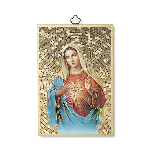Stampa su legno Cuore Immacolato di Maria Salve Regina ITA 1