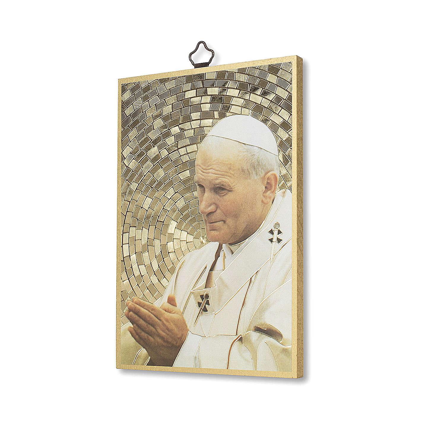 Impreso sobre madera San Juan Pablo II Oración de la Paz ITA 3