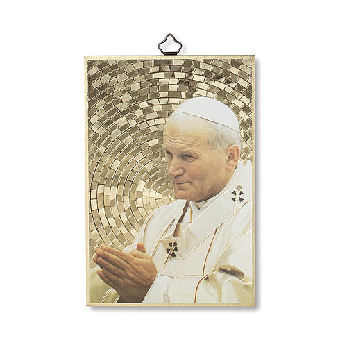 Impreso sobre madera San Juan Pablo II Oración de la Paz ITA
