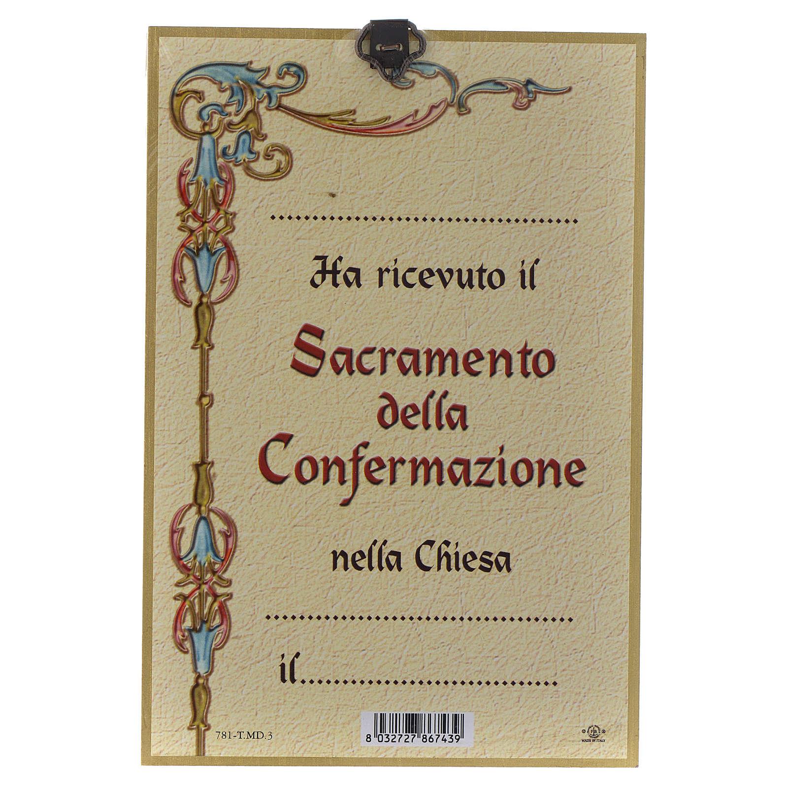 Impreso sobre madera Espíritu Santo Diploma Recuerdo de la Confirmación ITA 3